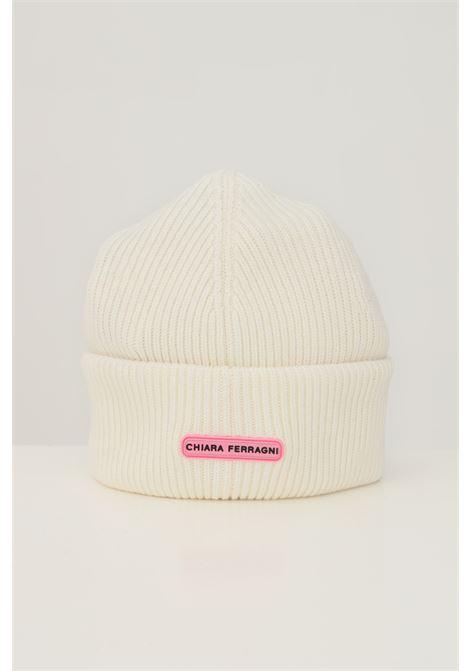Cream women's hat by chiara ferragni with logo application on the front CHIARA FERRAGNI | Hat | 71SBZK35ZG037008