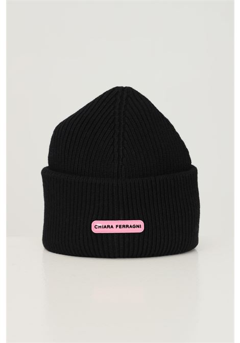 Black women's hat by chiara ferragni with logo application on the front CHIARA FERRAGNI | Hat | 71SBZK35ZG037899