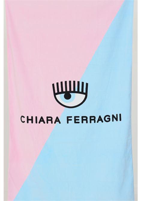 Pink light blue women's beach towel by chiara ferragni with contrasting logo CHIARA FERRAGNI |  | A740132151888