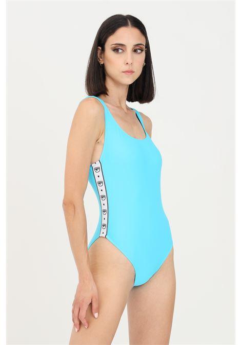 Body costume donna celeste chiara ferragni con bande logate CHIARA FERRAGNI | Beachwear | A811052110314