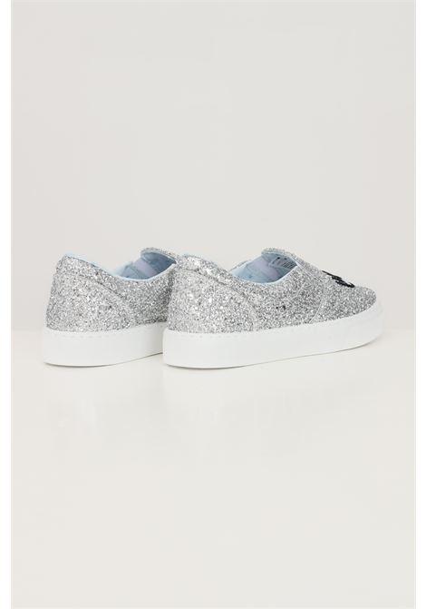 Silver women's slip on eyestar silver glitter sneakers by chiara ferragni CHIARA FERRAGNI | Sneakers | CF2843004