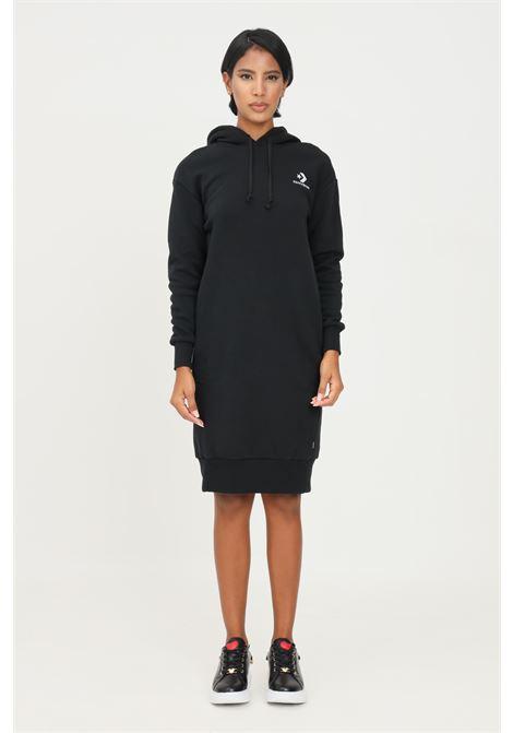 Abito donna nero converse con cappuccio taglio midi CONVERSE | Abiti | 10017711-A02.