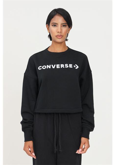 Felpa donna nero converse con ricamo logo a contrasto CONVERSE | Felpe | 10021658-A06.