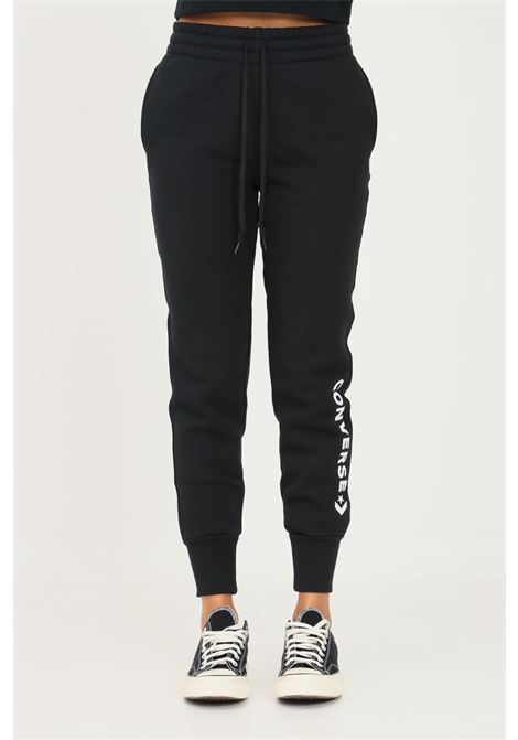 Pantaloni donna nero converse con maxi ricamo logo a contrasto CONVERSE | Pantaloni | 10023142-A01.