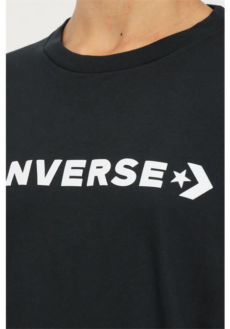 T-shirt a manica lunga donna nero converse con maxi logo frontale CONVERSE | T-shirt | 10023143-A01.