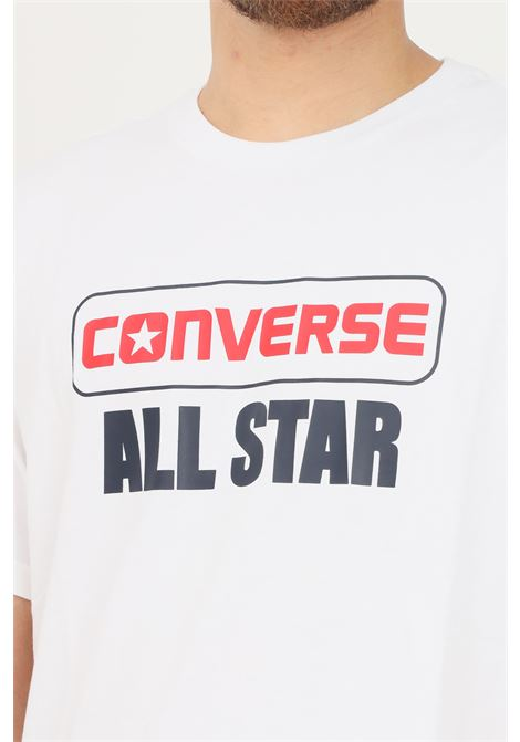 White men's t-shirt by converse with logo on the front and back print, short sleeve CONVERSE | T-shirt | 10023302-A02.