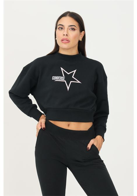 Felpa donna nero converse modello girocollo con ricamo logo frontale CONVERSE | Felpe | 10023328-A01.