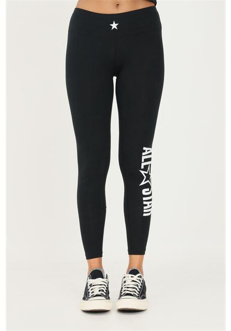 Leggings donna nero converse con maxi logo a contrasto sul fondo CONVERSE | Leggings | 10023331-A01.