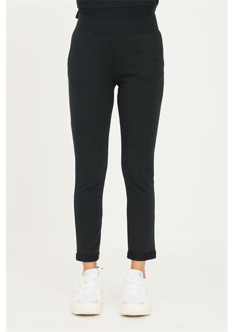 Pantaloni donna nero converse con ricamo logo tono su tono CONVERSE | Pantaloni | 10023333-A01.