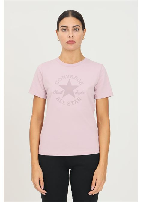 T-shirt donna rosa converse a manica corta con stampa frontale CONVERSE | T-shirt | 10023334-A03.