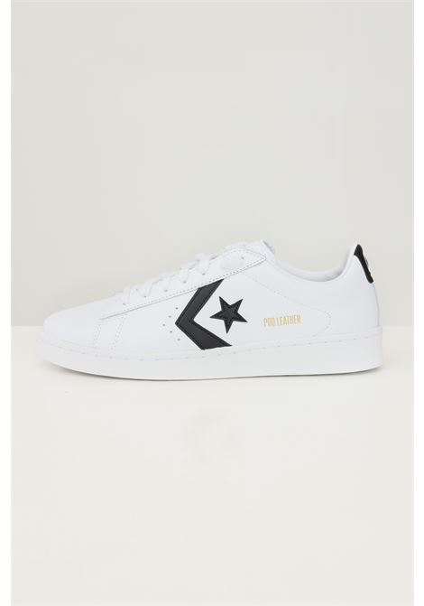 White men's pro leather low top shoe sneakers by converse with contrasting side print CONVERSE | Sneakers | 167237C.