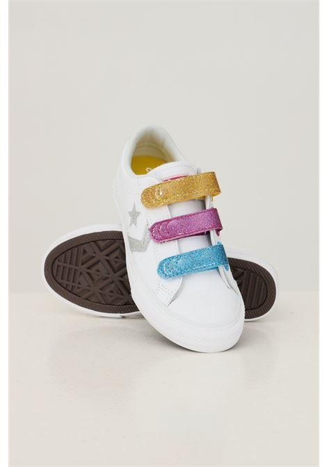 White baby star player 3v ox sneakers by converse, multicolor closure with velcro CONVERSE | Sneakers | 668478C.