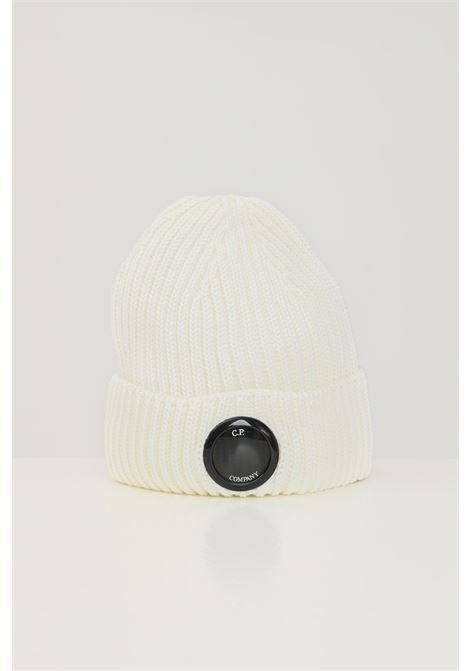 White men's hat by cp company with distinctive logo on the front C.P. COMPANY | Hat | 11CMAC272A-005509A103