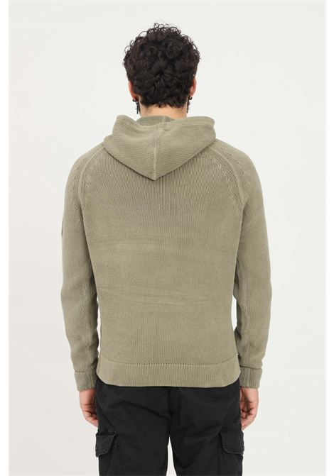 Green men's sweater by cp company with adjustable hood C.P. COMPANY | Knitwear | 11CMKN100A-005558G665