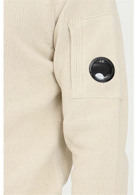 Cream men's sweater by cp company, crew neck model C.P. COMPANY | Knitwear | 11CMKN101A-005558G116
