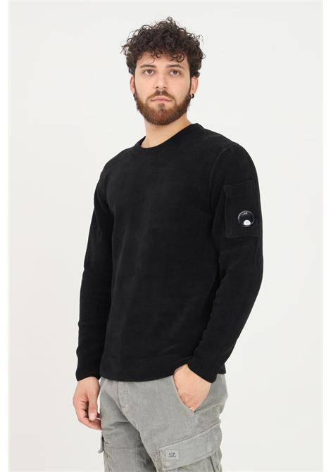 Black men's sweater by cp company, crew neck model C.P. COMPANY | Knitwear | 11CMKN101A-005558G999
