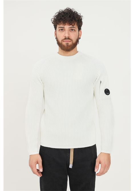 White men's sweater by cp company, ribbed crew neck model C.P. COMPANY | Knitwear | 11CMKN181A-005292A103
