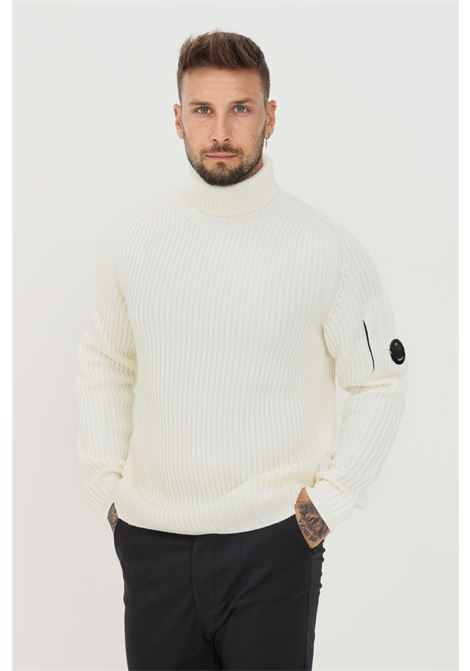 White men's sweater by cp company with high neck and ribs C.P. COMPANY | Knitwear | 11CMKN182A-005292A103
