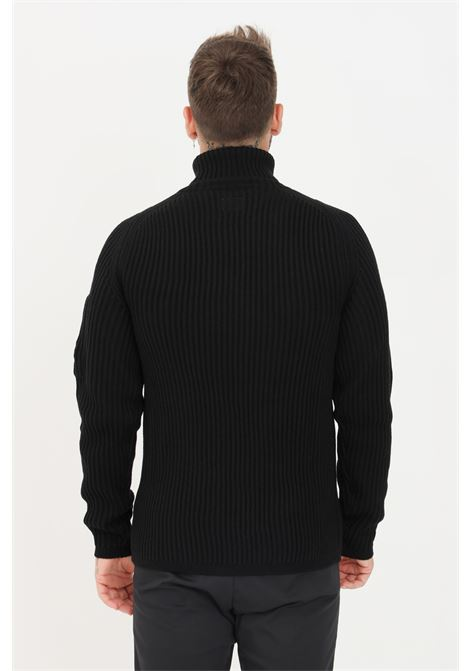 Black men's sweater by cp company with high neck and ribs C.P. COMPANY | Knitwear | 11CMKN182A-005292A999