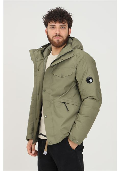 Green men's jacket by cp company with hood and lens on the sleeve C.P. COMPANY | Jacket | 11CMOW013A-004275A665