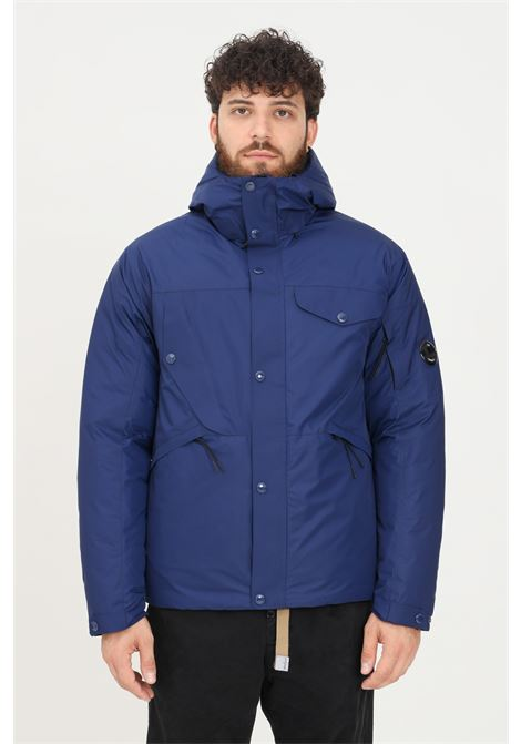 Blue men's jacket by cp company with hood and lens on the sleeve C.P. COMPANY | Jacket | 11CMOW013A-004275A878