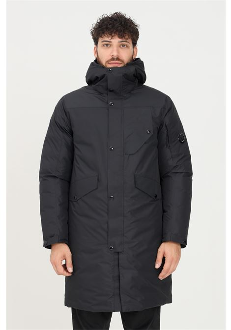 Black men's coat by cp company with hood long cut C.P. COMPANY | Jacket | 11CMOW015A-004275A999