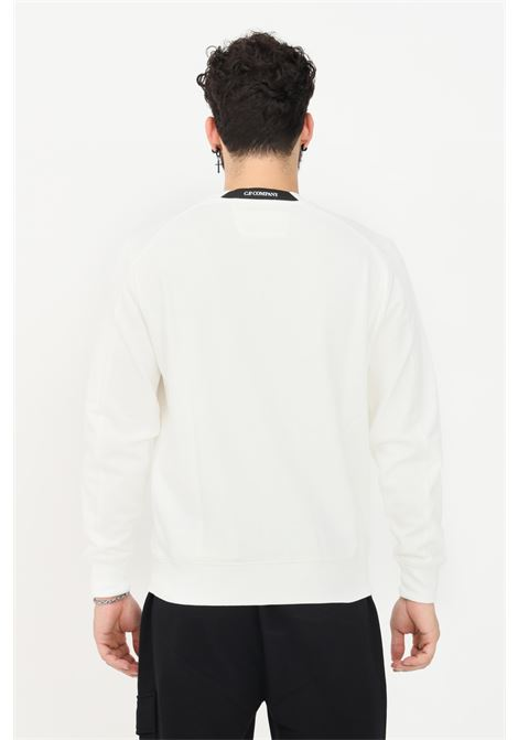 White men's sweatshirt by CP Company with ribbed crew neck  C.P. COMPANY | Sweatshirt | 11CMSS055A-005086W103