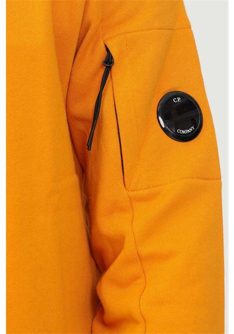 Orange men's sweatshirt by cp company with ribbed crew neck  C.P. COMPANY | Sweatshirt | 11CMSS055A-005086W436