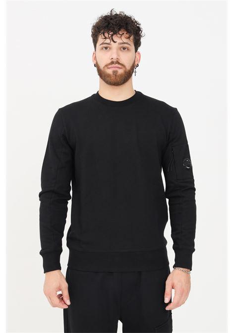Black men's sweatshirt by CP Company with ribbed crew neck  C.P. COMPANY | Sweatshirt | 11CMSS055A-005086W999