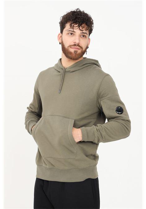 Green men's diagonal raised hoodie by CP Company C.P. COMPANY | Sweatshirt | 11CMSS056A-005086W665