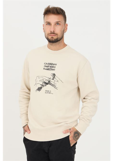 Cream men's sweatshirt by cp company with embroidered logo and hood C.P. COMPANY | Sweatshirt | 11CMSS355A-005622W116