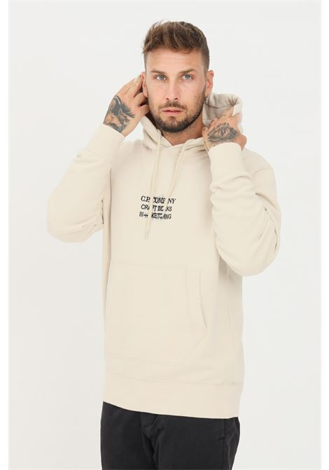 Cream men's sweatshirt by C.P. Company with embroidery on the front, crew neck model C.P. COMPANY | Sweatshirt | 11CMSS356A-005622W116