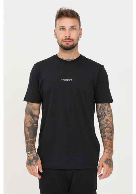 Black men's t-shirt by cp company with logo detail  C.P. COMPANY | T-shirt | 11CMTS213A-006011W999