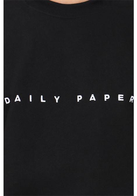 Felpa uomo nero daily paper modello girocollo con ricamo logo a contrasto DAILY PAPER | Felpe | 191326BLACK