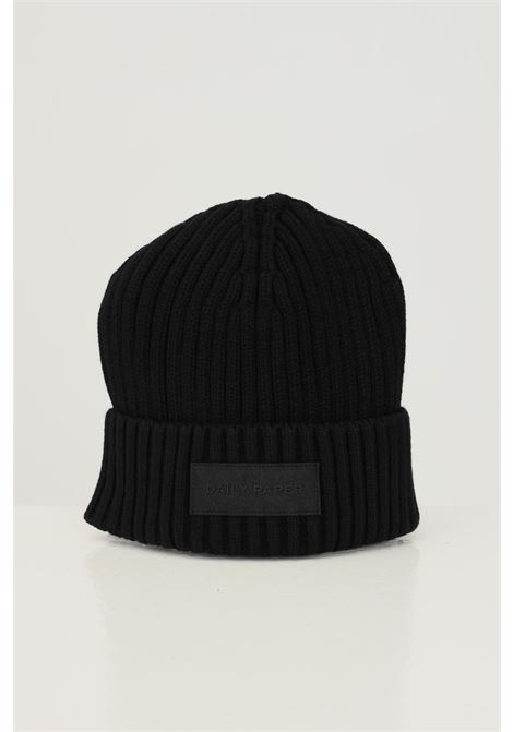 Black unisex hat by daily paper with logo patch on the front DAILY PAPER | Hat | 2021134BLACK