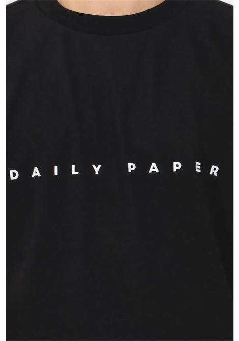 Black men's t-shirt by daily paper with contrasting logo embroidery, short sleeve DAILY PAPER | T-shirt | 2021181BLACK