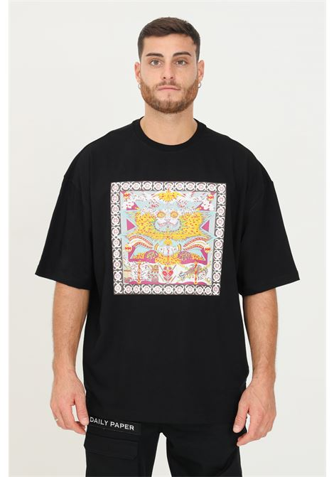 Black men's t-shirt by daily paper with front print and logo print on the back, short sleeve DAILY PAPER | T-shirt | 2121019BLACK