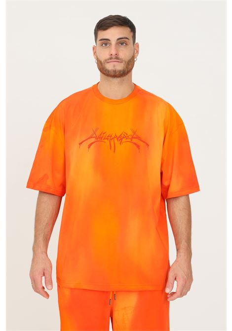 Orange men's t-shirt by daily paper with tone on tone embroidery on the front, short sleeve DAILY PAPER | T-shirt | 2121023WASHED ORANGE