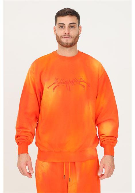 Felpa uomo arancio daily paper modello girocollo con maxi ricamo frontale DAILY PAPER | Felpe | 2121024WASHED ORANGE