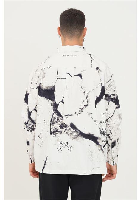 Camicia uomo fantasia daily paper modello casual con stampa pantera DAILY PAPER | Camicie | 2121047WHITE PANTER