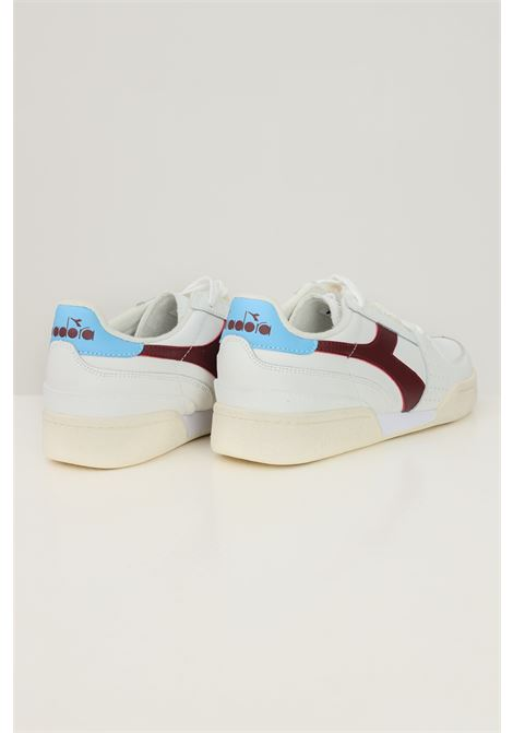 White men's david leather sneakers by diadora with side logo in contrast DIADORA   Sneakers   501.177354C9023