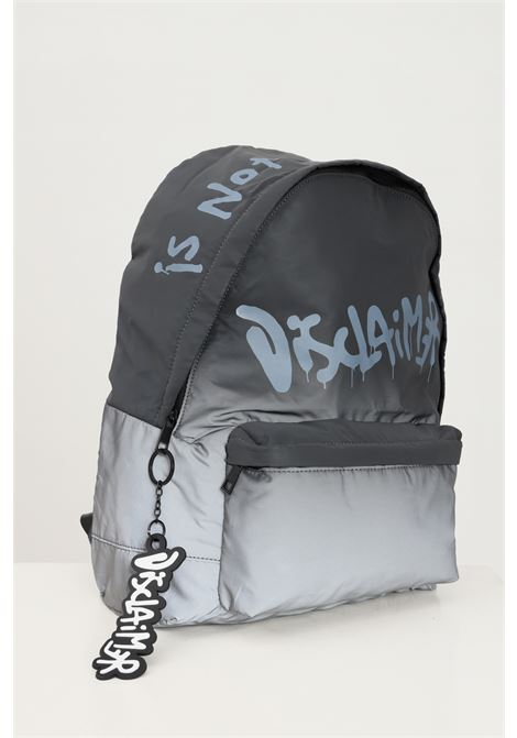 Grey unisex backpack by disclaimer with logo print on the front DISCLAIMER | Backpack | 21IDS50730NERO