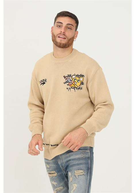Beige men's sweater by disclaimer with embroidered logo DISCLAIMER | Knitwear | 21IDS50754BROWN