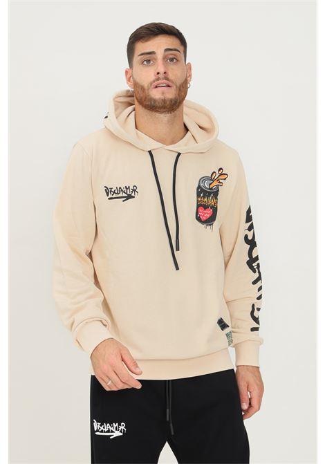 Beige men's hoodie by disclaimer with hologram logo DISCLAIMER | Sweatshirt | 21IDS50760CREMA