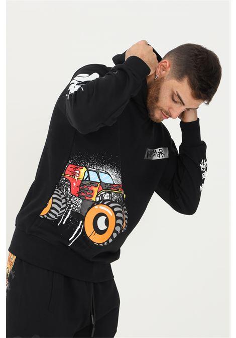 Felpa nero uomo discalimer con maxi stampa graffiti DISCLAIMER   Felpe   21IDS50780NERO