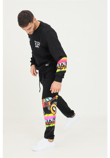Black men's trousers by disclaimer with graffiti print DISCLAIMER | Pants | 21IDS50810NERO