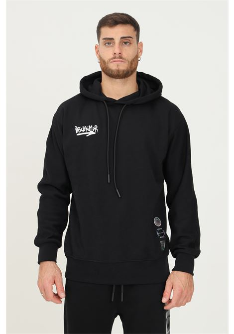 Cream men's hoodie by disclaimer with maxi print on the back DISCLAIMER | Sweatshirt | 21IDS50833nero-giallo