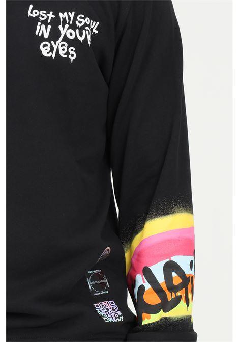 Black men's sweatshirt by disclaimer with maxi print on the sleeve DISCLAIMER | Sweatshirt | 21IDS50837NERO