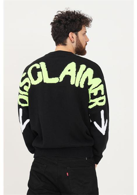 Maglione uomo nero disclaimer modello girocollo con maxi logo fluo sul retro DISCLAIMER   Maglieria   21IDS50839NERO