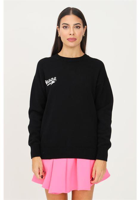 Maglione donna nero disclaimer modello girocollo con maxi logo sul retro DISCLAIMER | Maglieria | 21IDS50861NERO-FUXIA